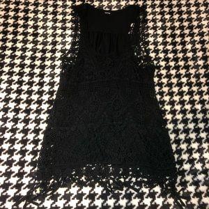 Black crochet front tank top